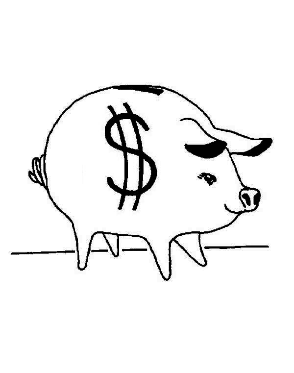 Piggy Bank, : Awesome Piggy Bank Coloring Page