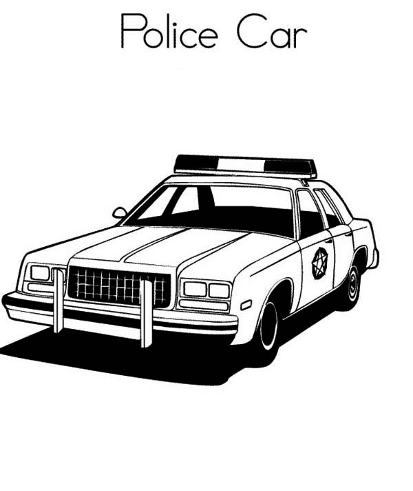 Police Car, : Awesome Police Car Coloring Page