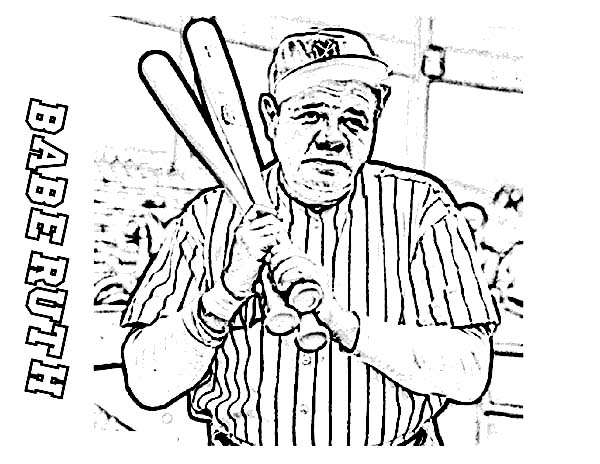 babe ruth the baseball legend in mlb coloring page - Free Coloring Pages Baseball 2