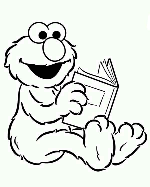 Sesame Street, : Baby Elmo Reading a Book in Sesame Street Coloring Page