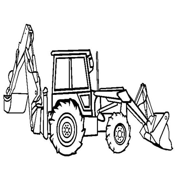 Digger, : Backhoe Loader in Digger Coloring Page