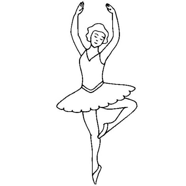 Ballerina, : Ballerina Dancing on Her Toe Coloring Page