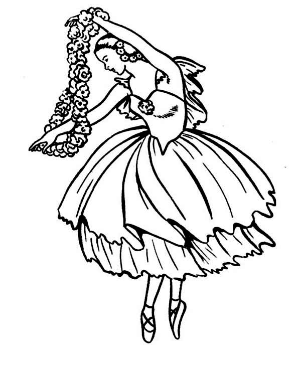 Ballerina, : Ballerina Doing Classic Ballet Dance Coloring Page