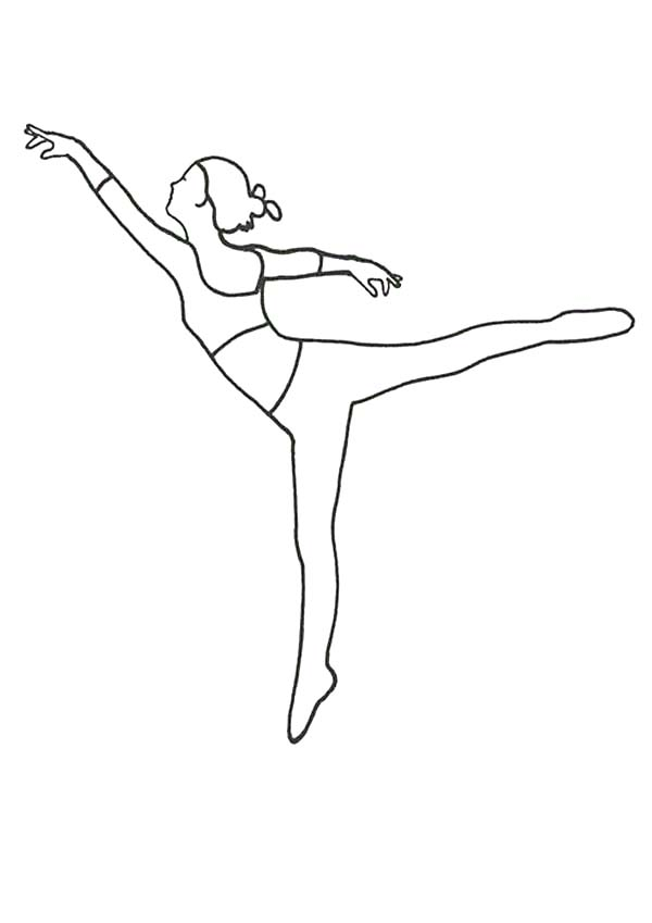 Ballerina, : Ballerina Jump Forward Coloring Page