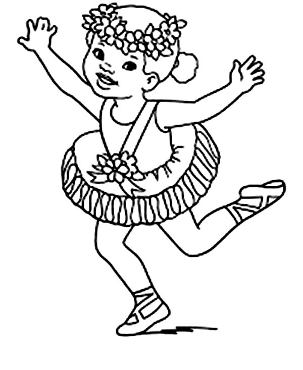 Ballerina, : Ballerina Wearing Flower Crown Coloring Page
