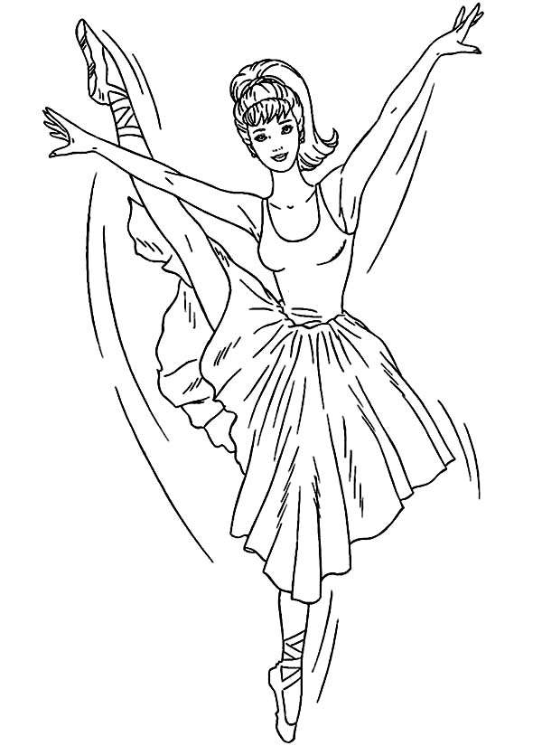 Barbie Ballerina Coloring Page | Color Luna