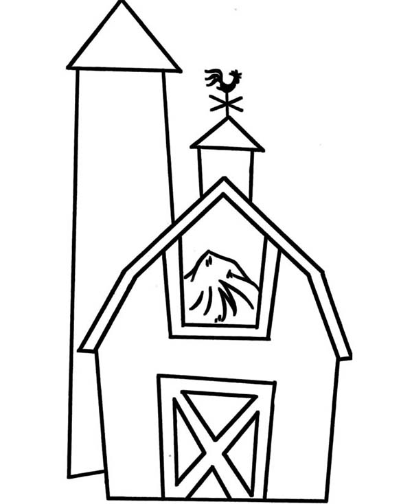 Barn, : Barn Full of Rice Straw Coloring Page
