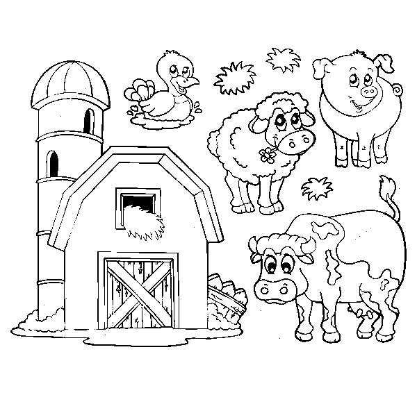 Barn, : Barn and Livestock Picture Coloring Page