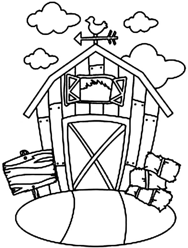 Barn and Stack of Rice Straw Coloring Page  Color Luna