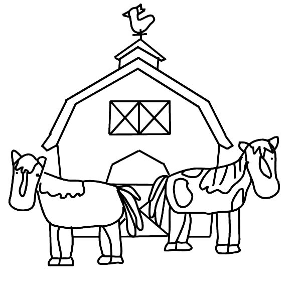 Barn, : Barn and Two Working Horse Coloring Page