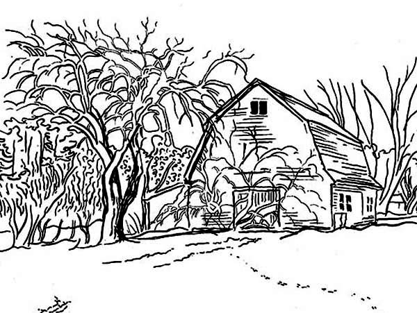 Barn, : Barn in Winter Season Coloring Page