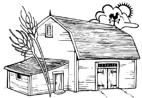 barn with dead tree coloring page - Barns Coloring Pages Farm Silos