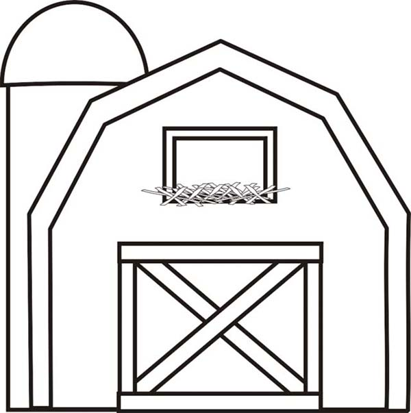 Barn, : Barn with Silo Coloring Page