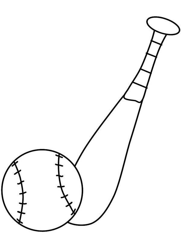 MLB, : Baseball and Bat in MLB Coloring Page