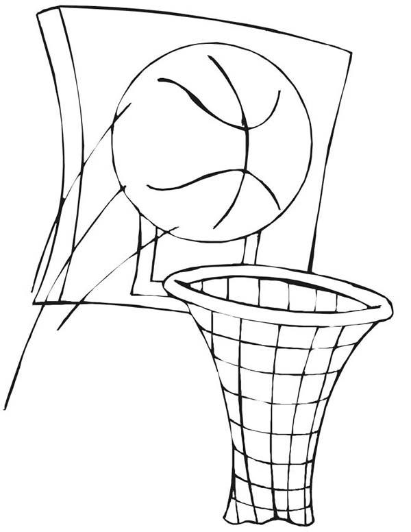 Basketball and Basket in NBA Coloring Page Color Luna