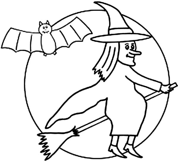Bats, : Bats Flying with Witch in the Night Coloring Page