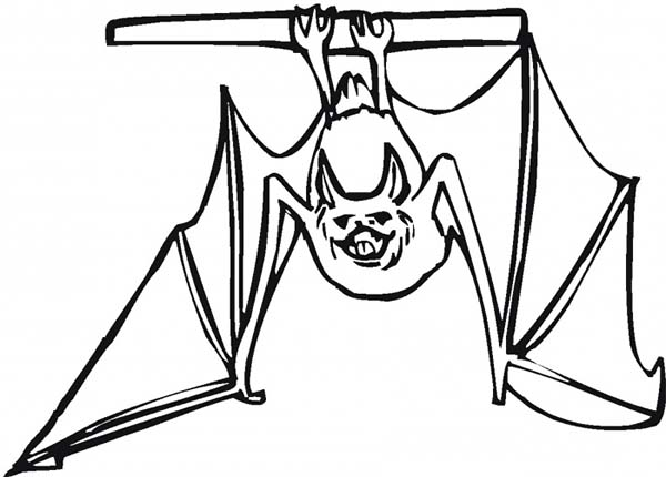 Bats, : Bats Show His Teeth Coloring Page
