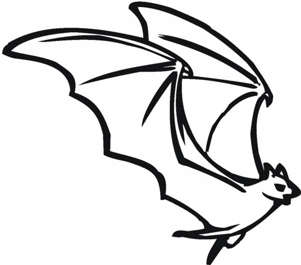 Bats, : Bats Spread His Wing Wide Coloring Page