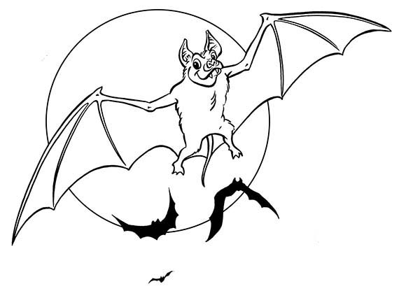 Bats, : Bats Spreading His Wing Coloring Page