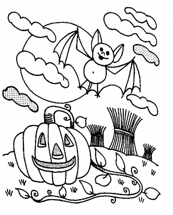 Bats and halloween pumpkin coloring page color luna for Halloween coloring pages bats
