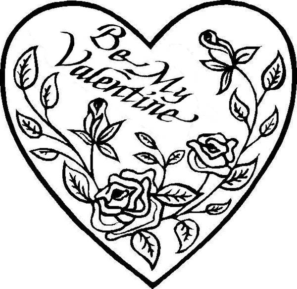 be my valentine hearts and roses coloring page - Coloring Pages Hearts Roses