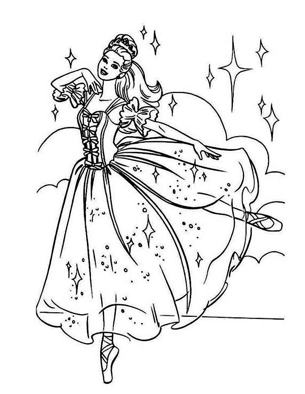 Beautiful Barbie Ballerina Coloring Page | Color Luna