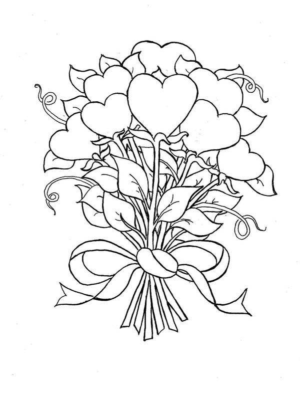 Beautiful Bouquet of Hearts and Roses Coloring Page | Color Luna