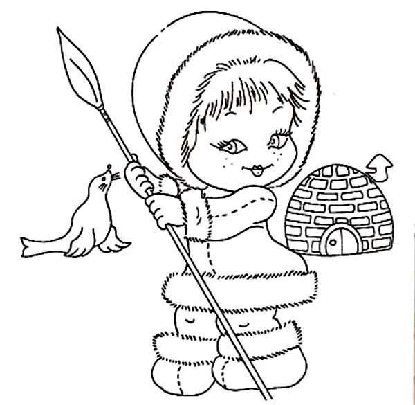 Eskimo, : Beautiful Eskimo Girl Coloring Page