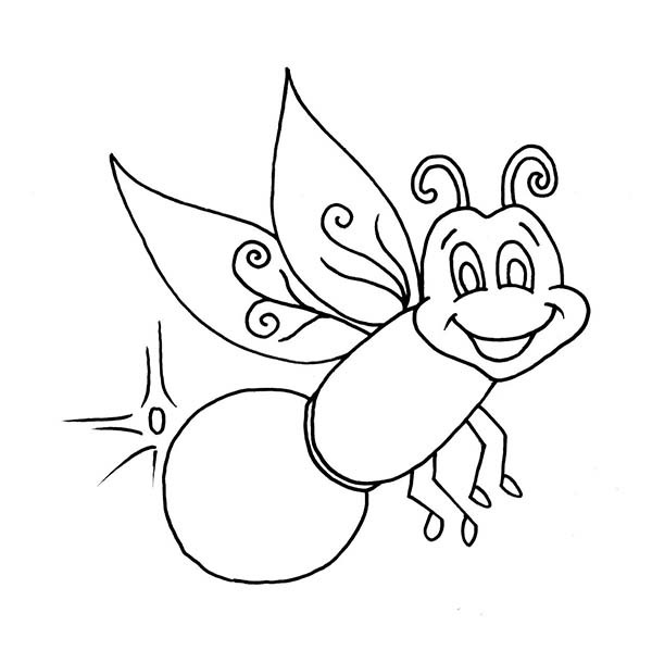 Beautiful firefly coloring page