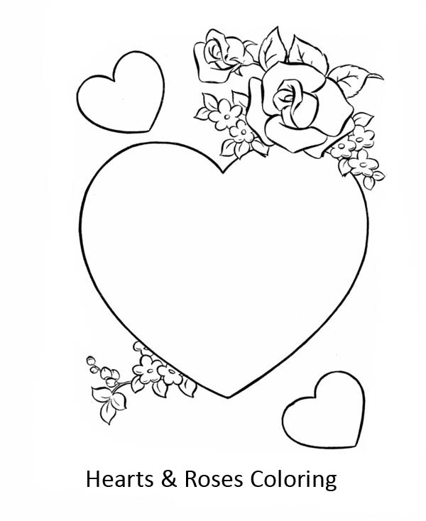 roses and hearts coloring pages - beautiful hearts and roses coloring page color luna