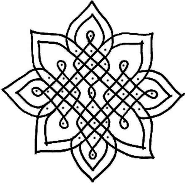 Rangoli, : Beautiful Pattern of Rangoli Coloring Page