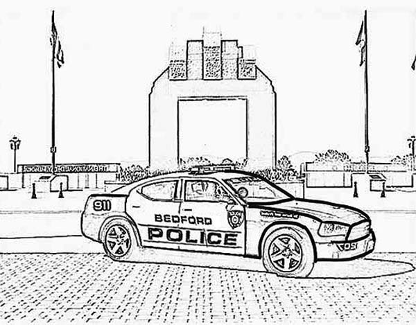 Police Car, : Bedford Police Car Coloring Page
