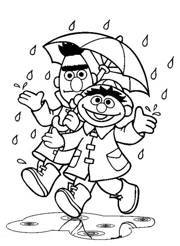 Sesame Street, : Bert and Ernie Under Umbrella in the Rain in Sesame Street Coloring Page