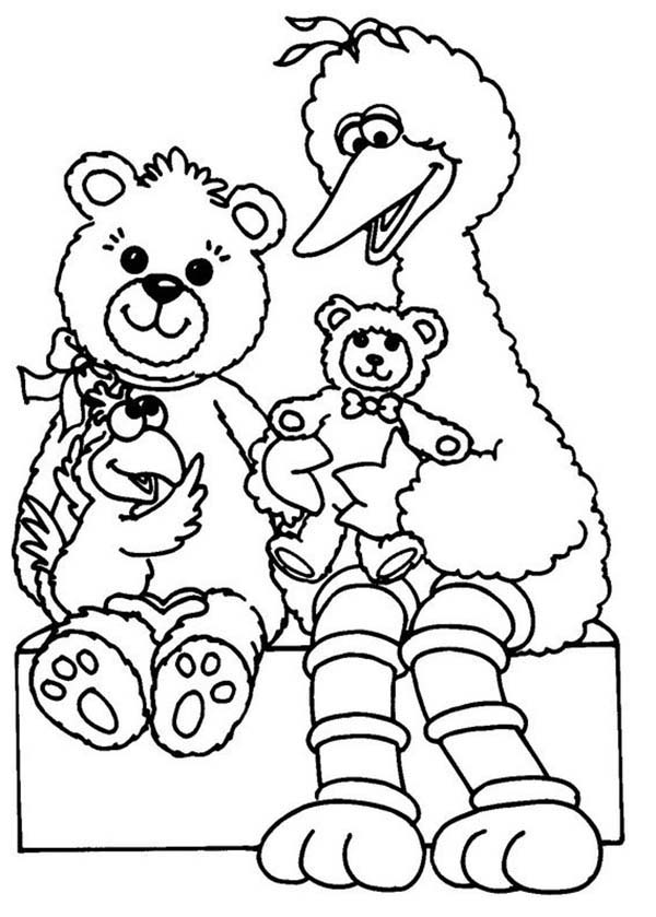Sesame Street, : Big Playing with Teddy Bear in Sesame Street Coloring Page