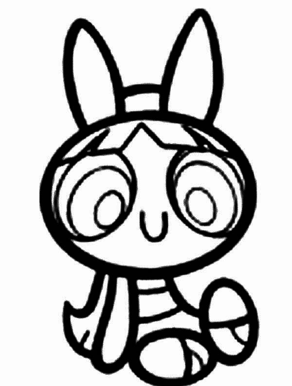 The Powerpuff Girls, : Blossom is Smiling in The Powerpuff Girls Coloring Page