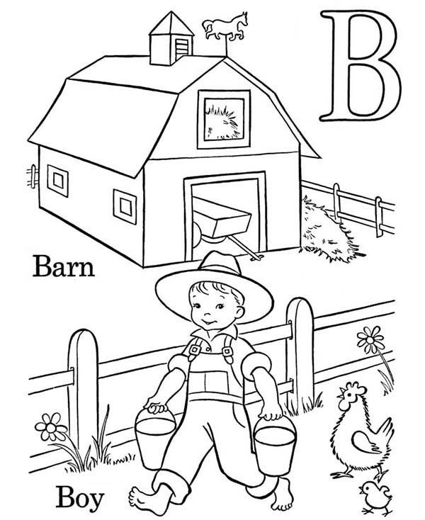 Barn, : Boy Work at Barn Coloring Page