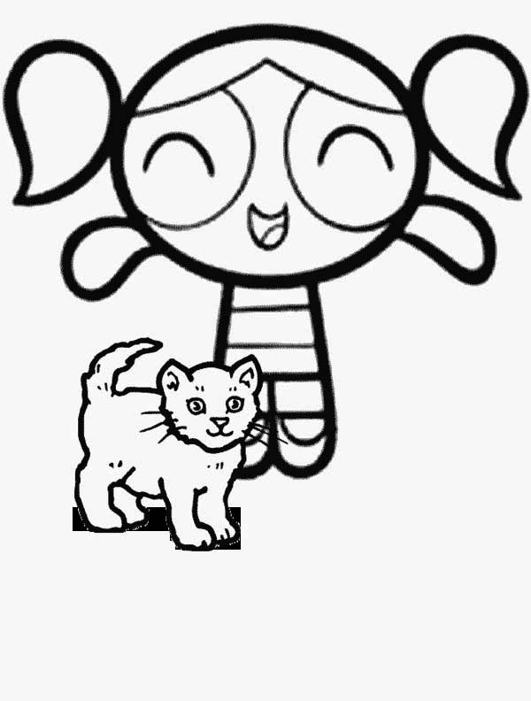 Bubbles and a Little Cat in The Powerpuff Girls Coloring Page