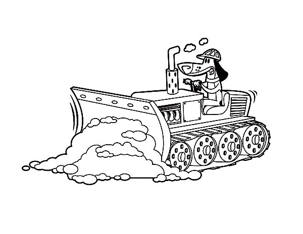 bulldozer pulling dirt in digger coloring page - Bulldozer Coloring Pages