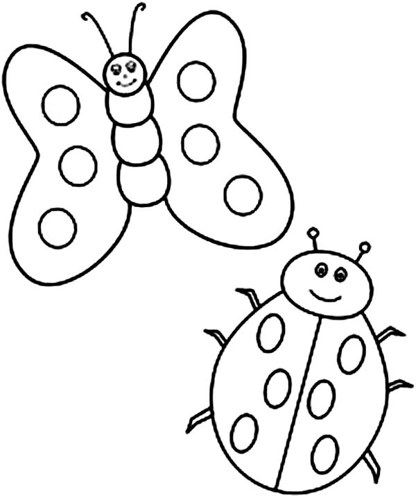 Lady Bug, : Butterfly and Lady Bug Coloring Page