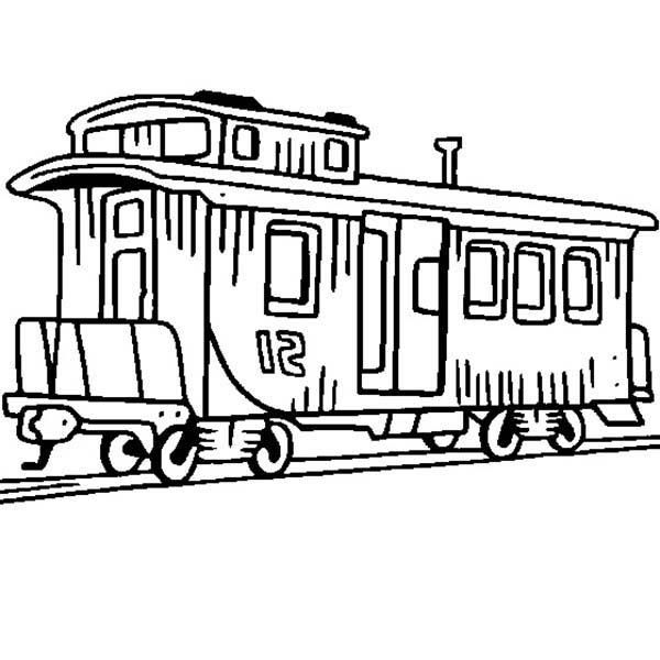 Railroad, : Caboose Train on Railroad Coloring Page