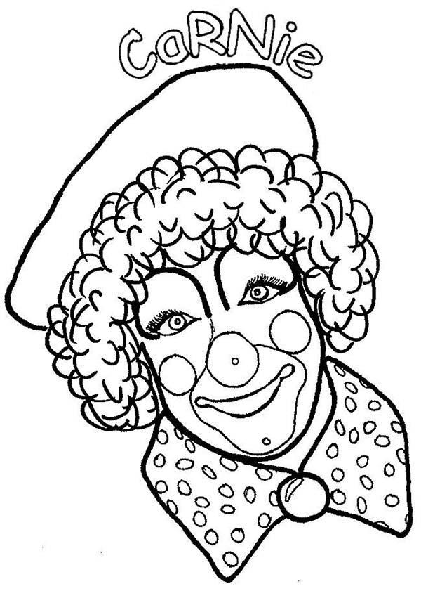 Clown, : Carnie the Clown Coloring Page