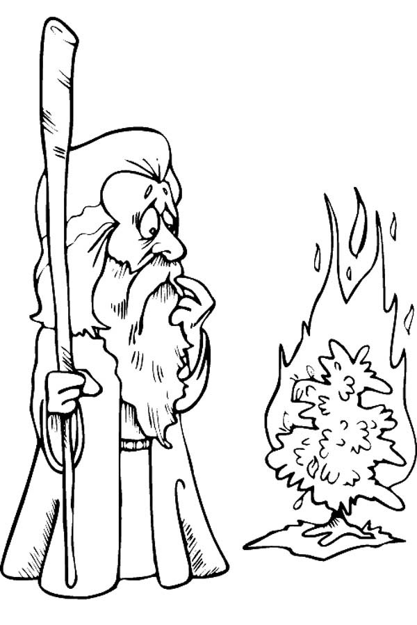 Cartoon of Moses Meet God in Form of Burning Bush Coloring Page