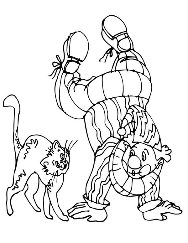 Clown, : Cat with Clown Who Stand with Two Hand Coloring Page