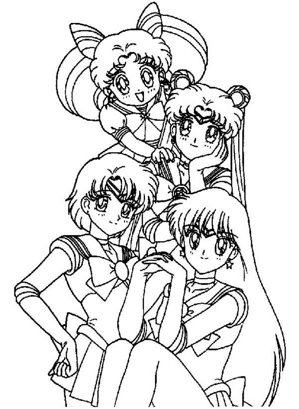 Sailor Moon, : Chibi Sailor Moon and the Sailor Moon Guardian Coloring Page
