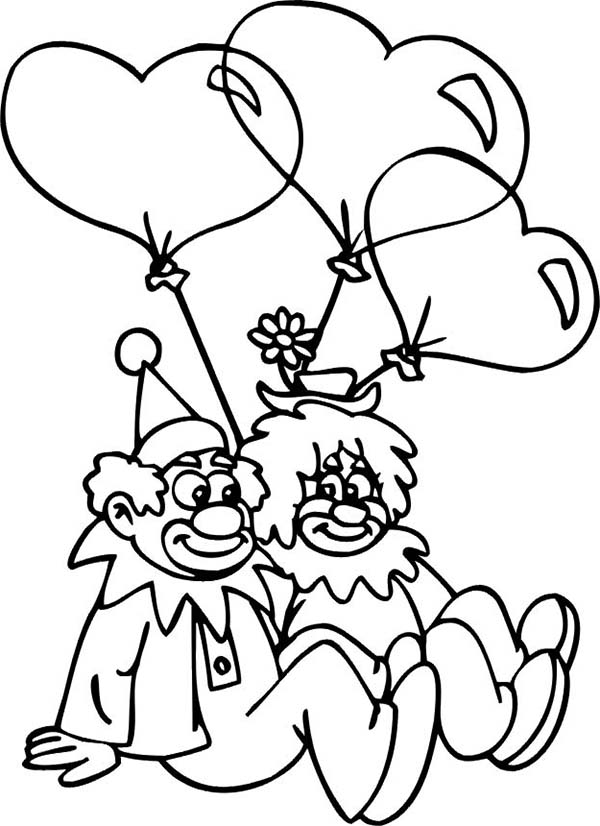 Clown, : Clown Couple Had Heart Shaped Balloon Coloring Page