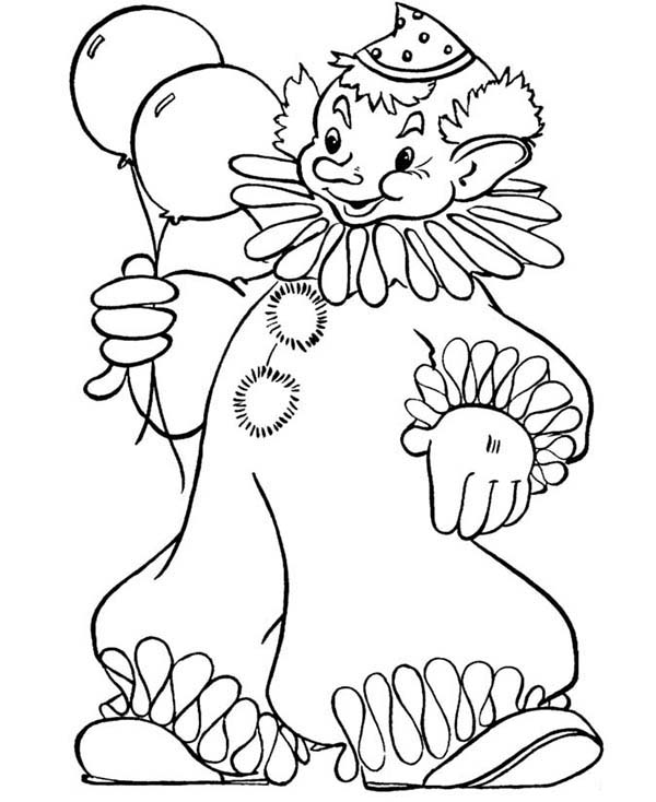 Clown, : Clown Holding Two Beautiful Balloon Coloring Page