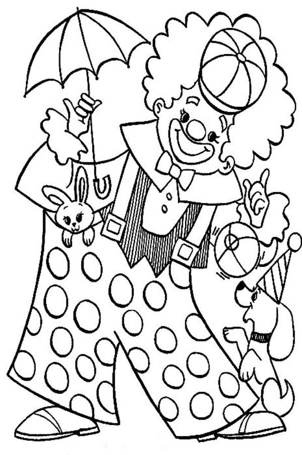 clown playing with animal circus coloring page