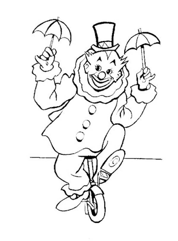 Clown, : Clown Riding a Unicycle Coloring Page