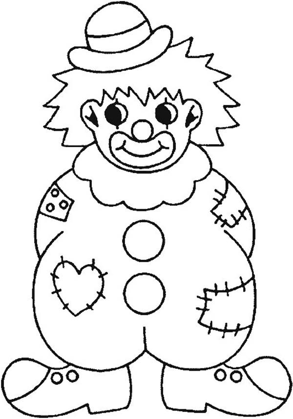 Clown Wearing Raggery Clothes Coloring Page