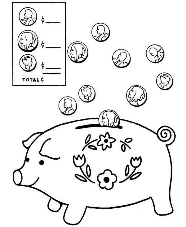 piggy bank coin going in piggy bank coloring page coin going in piggy bank